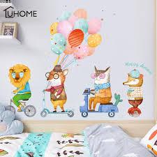 Diy Cartoon Animals Wall Sticker For Kids Room Boy S Room Decals Colorful Balloons Nursery Decorative Wallpapers Stickers Wall Stickers Aliexpress