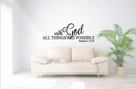 With God All Things Are Possible Vinyl Wall Decal Matthew 19 Etsy