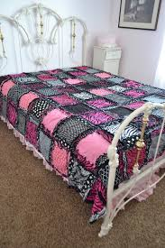 zebra queen size rag quilt girl bedding