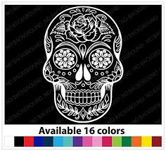 Amazon Com Osmdecals Sugar Skull Sticker Version 38 Day Of The Dead Vinyl Wall Home Decor Car Window Decal Stic Skull Sticker Car Window Decals Vinyl Wall