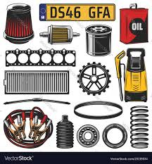 Car spare parts engine details and motor oil Vector Image