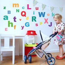 A Z Bright Alphabet Abc S Fabric Wall Decals Eco Friendly Reusable