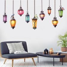 1pc Colorful Hanging Lamp Wall Decals Exotic Stickers Art Home Room Vinyl Decor Wall Stickers Aliexpress