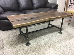 live edge black walnut coffee table on