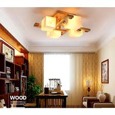 wood chandelier square glass shades