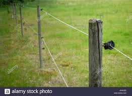 Electric Fence Around Farm Horse Paddock Copy Space For Text Stock Photo Alamy