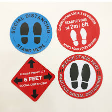 China Premium Self Adhesive Vinyl Removable Water Resistance Social Distancing Floor Decals Stickers China Social Distancing Floor Sticker And Keep Social Distancing Price