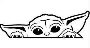 Baby Yoda Peeking Star Wars Vinyl Decal Ebay