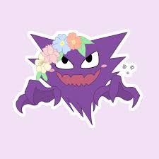 Haunter Ghost Poison Pokemon Flower Crown Cute Sticker Chibi Laptop Phone Water Bottle Car Decal In 2020 Pokemon Cute Stickers Pokemon Stickers