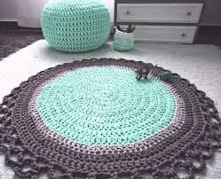 mint grey crochet round rug