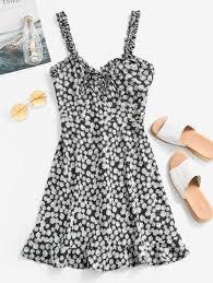 2020 smocked lace up fl mini dress