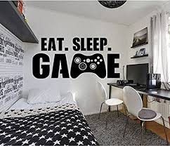 Amazon Com Gamer Eat Sleep Game Wall Decal Controller Stickers Home Decor Customized For Kids Bedroom Vinyl Wall Art Decals Us001 Arts Crafts Sewing