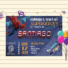 Superheroe Invitacion Cumpleanos Nino Invitacion Spiderman Etsy