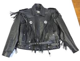 fmc men black leather fringe biker moto