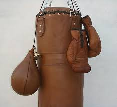 tan leather boxing gym punch bag