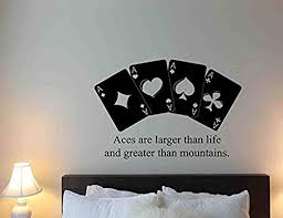 Amazon Com Poker Vinyl Wall Decal Aces Quote Game Play Casino Cards Lettering Vinyl Sticker Home Bedroom Nursery Decor Art Hds3938 Home Kitchen
