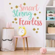 Amazon Com Creative Inspirational Quote Wall Decals Colorful Smart Strong Fearless Wall Decor Gold Stars Wall Stickers Motivational Sayings Murals Wallpaper For Classroom Playroom Kids Room Nursery Wall Decor Arts Crafts Sewing