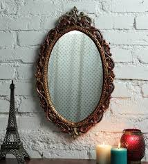 solid wood wall mirror in yellow color