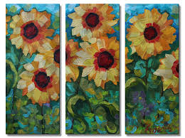 All My Walls Sunflower Garden 1 by Peggy Davis 3 Piece Painting ...