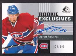 2011-12 SP Game Used Rookie Exclusives Auto #RE-AP Aaron Palushaj 026/100  at Amazon's Sports Collectibles Store