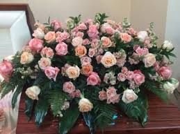 shades of pink rose casket spray