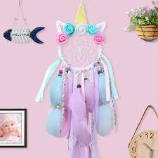 Warmparty Unicorn Dream Catcher Kit Bedroom Nursery Handmade Dreamcatcher Kids Gifts Home Room Wall Hanging Decor Wish