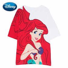 Disney Nàng Tiên Cá Ariel Lớn Hoạt Hình In Áo Thun Trắng Cổ Tròn ...