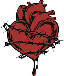 Amazon Com Simple Gothic Anatomical Heart With Barbed Wire Cartoon Icon Vinyl Decal Sticker 4 Tall Automotive