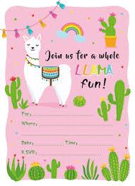 Tarjetas De Invitacion De Fiesta De Cumpleanos Kawaii Alpaca
