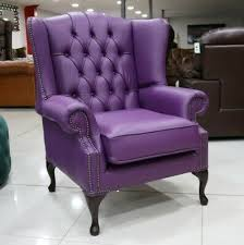 queen anne high back wing chair purple