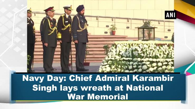 Image result for navy Chief Admiral Karambir Singh laid a wreath at the National War Memorial""