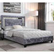 double bed in crushed velvet silver