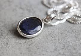dark blue sapphire silver necklace