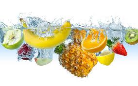 تحميل خلفيات الفواكه في قطرة الماء الموز التفاح الليمون