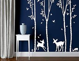 Amazon Com Designyours Birch Tree Wall Decal With Deer White Tree Wall Decal Stickers Removable Tree Wall Decal For Living Room Christmas Decorations Home Kitchen