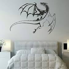 Amazon Com Fantastic Me Black Flying Dragon Wall Decal 30 X 35 Wall Sticker Mural Art Picture For Window Home Kids Bedroom Living Room Decoration Home Kitchen