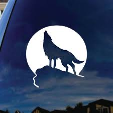 Howling Wolf Moon Car Window Vinyl Decal Sticker