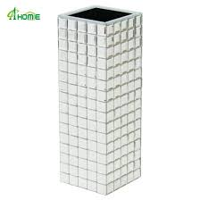 china tall silver mirrored glass vases