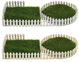 Amazon Com Oryougo 2 Pack White Brown Miniature Fairy Garden Wood Picket Fence Diy Mini Ornament For Dollhouse Home Garden With 2 Sheets Artificial Grass Fake Lawn Grass Garden Outdoor