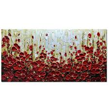 palette knife red flowers paintings