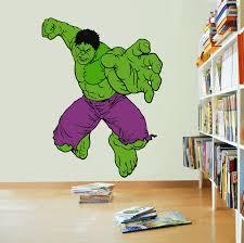 The Hulk The Avengers Cartoon Character Wall Decal Vinyl Sticker Art Home Decor Sticker Vinyl Mural Baby Kids Room Bedroom Nursery Kindergarten School House Wall Art Design Peel And Stick 20x12 Inch