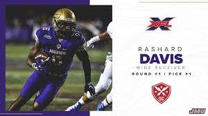 Rashard Davis #1 Overall Pick in XFL Draft, Three Former Dukes Selected on  Day One - James Madison University Athletics