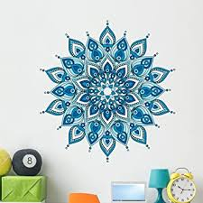 Amazon Com Wallmonkeys Decorative Blue Mandala Wall Decal Peel And Stick Graphic 48 In H X 46 In W Wm376331 Furniture Decor