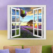 Lavender Pag 3d Artificial Window Wall Decals Fire Balloon Room Stickers Home Wall Decor Gift Sale Banggood Com