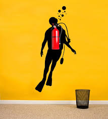 Fire Extinguisher Scuba Diver Silhouette Wall Decal Office Etsy
