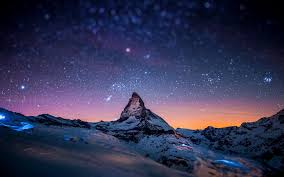 snow mountains night sky stars 4k hd