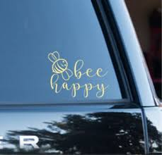 Bee Happy Car Cup Or Crafts Decal Choose Your Color Etsy