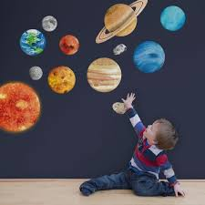 Solar System Wall Stickers Space Wall Sticker Planet Wall Etsy