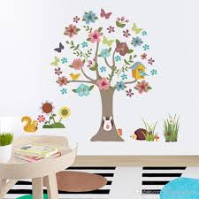 Cartoon Tree Animals Wall Stickers Kids Room Nursery Wall Mural Poster Art Colorful Flowers Tree Birds Home Wallpaper Poster Hanging Graphic Quote Wall Stickers Quotes Stickers For Walls From Magicforwall 10 04 Dhgate Com