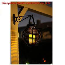 battery operated round rattan lantern